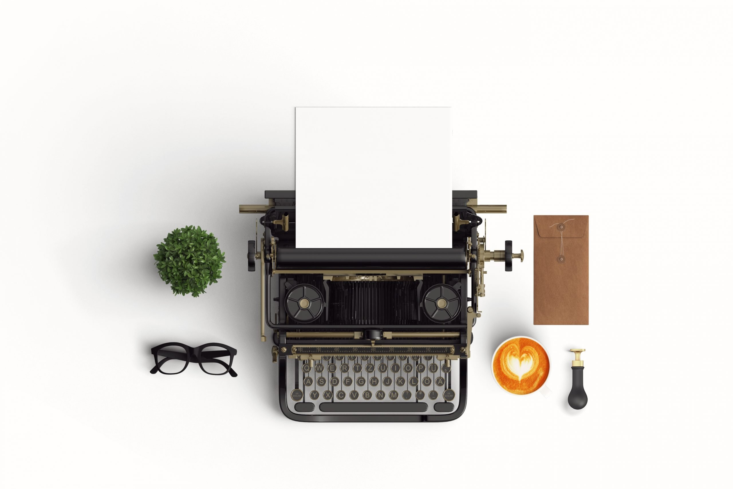 Looking down on a vintage typewriter, blank paper ready, spectacles, cafe latte, a small plant, and an envelope.